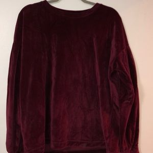Wine red soft velour sweater